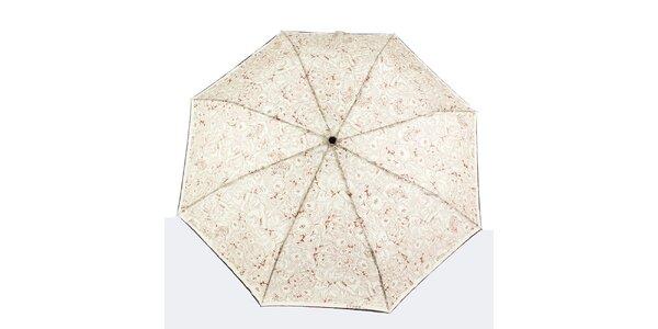 Dámsky krémový dáždnik s hnedými kvetmi Ferré Milano