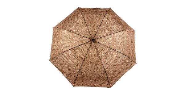 Dámsky hnedo-karamelový vystreľovací dáždnik Ferré Milano