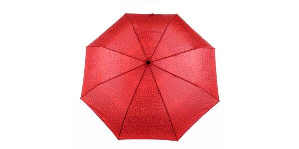 Dámsky červený vystreľovací dáždnik s krokodýlim vzorom Ferré Milano