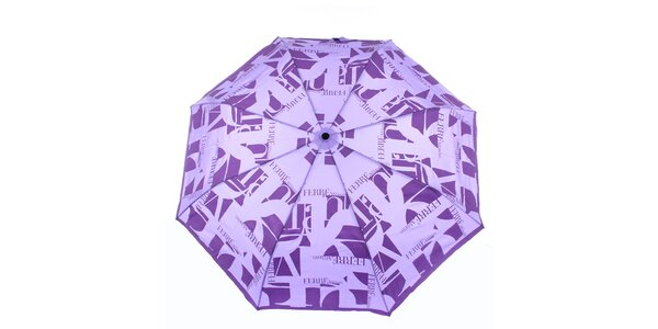 Dámsky fialový vystreľovací dáždnik s logom Ferré Milano