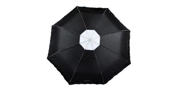 Dámsky čierny dáždnik s plastickými kvetmi Ferré Milano