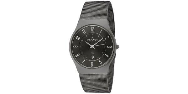 Pánske čierne oceľové hodinky Skagen