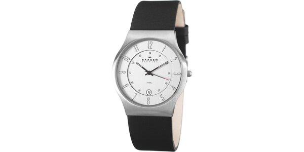 Pánske oceľové hodinky Skagen s čiernym koženým remienkom