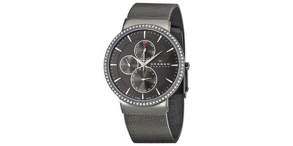 Dámske čierne oceľové hodinky Skagen s kryštáľmi