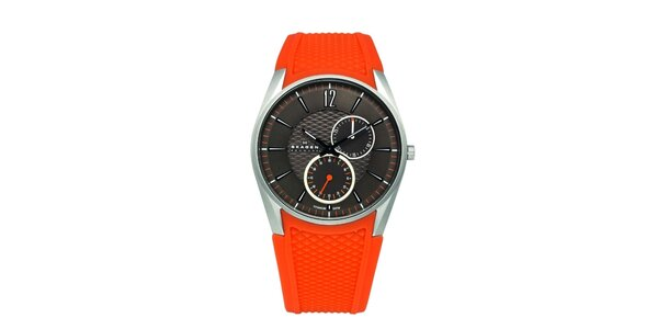 Dámske červené hodinky Skagen so silikonovým remienkom