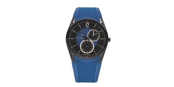Unisexové modré hodinky Skagen so silikonovým remienkom