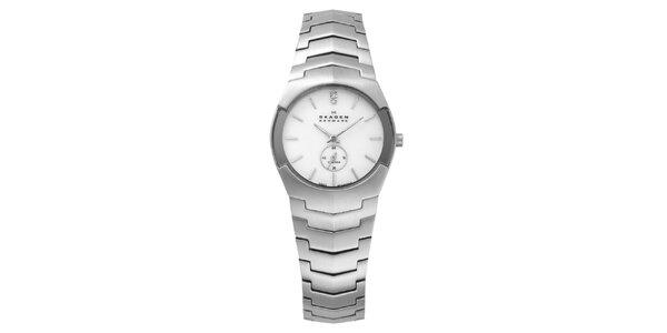 Dámske oceľové hodinky Skagen s bielym ciferníkom