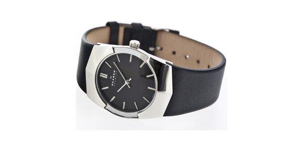 Pánske oceľové hodinky Skagen s čiernym ciferníkom