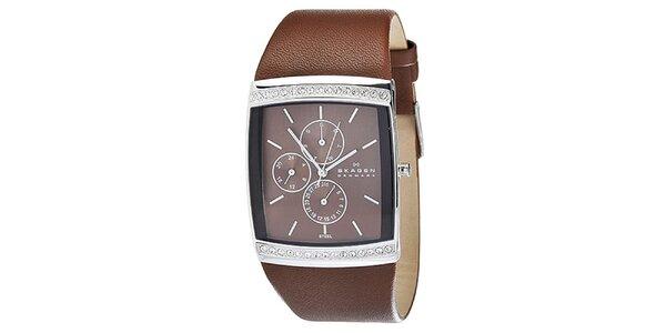 Dámske hranaté hodinky Skagen s hnedým koženým remienkom