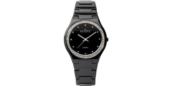 Dámske čierne keramické hodinky Skagen s ciferníkom obloženým kryštáľmi