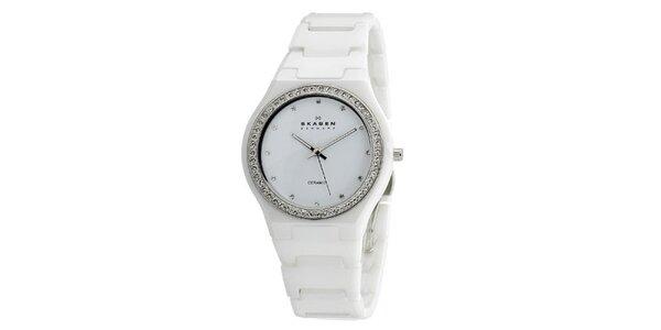 Dámske biele keramické hodinky Skagen s ciferníkom obloženým kryštáľmi