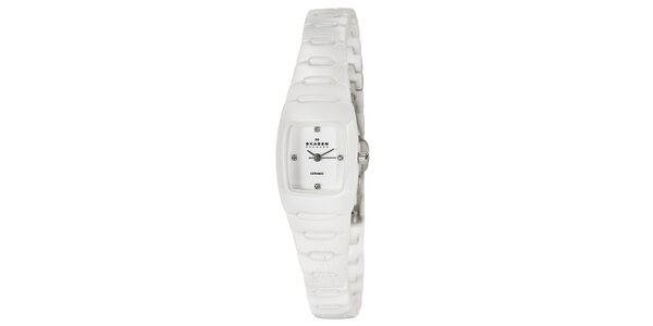 Dámske keramické hodinky Skagen biele