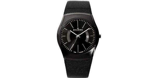 Pánske čierne analogové hodinky s reliéfnym remienkom Skagen