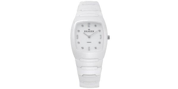 Dámske biele keramické analogové hodinky Skagen