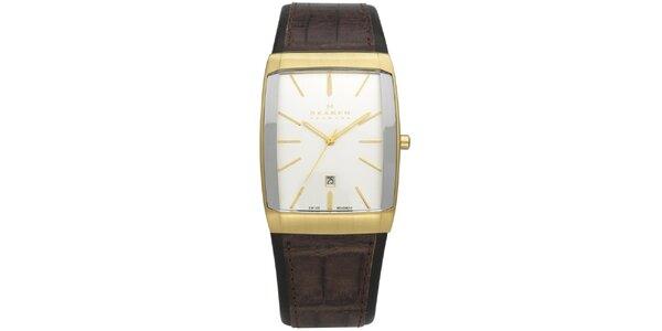 Pánske zlato-hnedé analogové hodinky Skagen