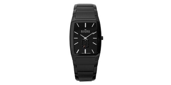 Pánske čierne oceľové analogové hodinky Skagen