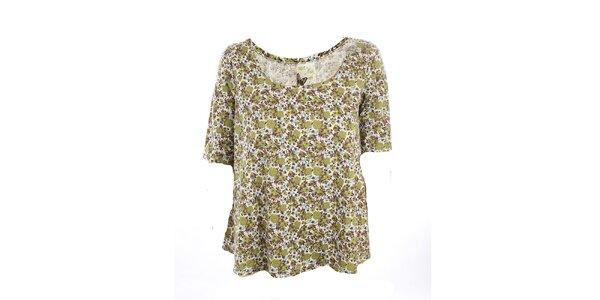 Dámske olivové kvetinové tričko Next