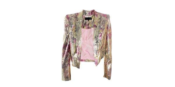 Dámske zlato-ružové sako s flitrami Next