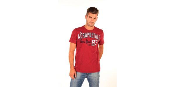 Pánske červené tričko Aéropostale s retro nápisom