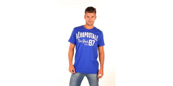 Pánske modré tričko Aéropostale s retro nápisom