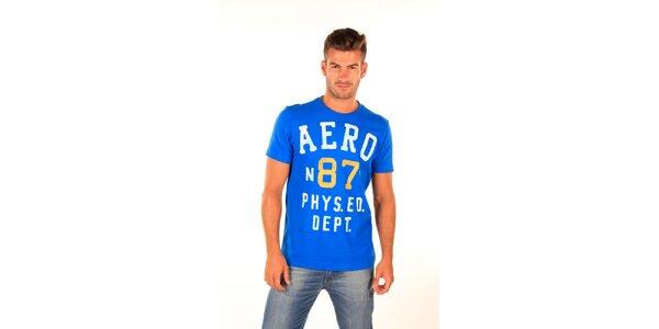 Pánske modré tričko s nápismi Aéropostale