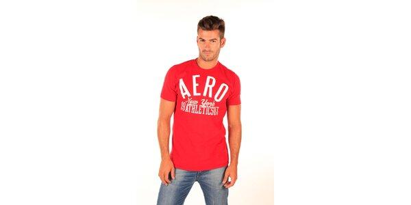 Pánske červené tričko s bielym nápisom Aéropostale