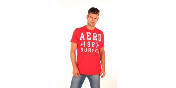 Pánske červené tričko s potlačou Aéropostale