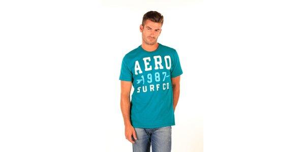 Pánske tyrkysové tričko s nápisom Aéropostale