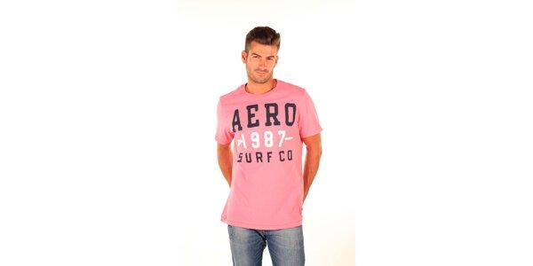 Pánske ružové tričko s nápismi Aéropostale