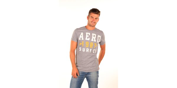 Pánske šedé tričko s potlačou Aéropostale