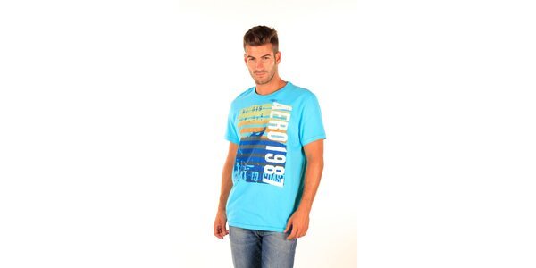 Pánske modré tričko Aéropostale s farebnou potlačou