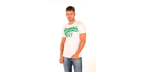 Pánske biele tričko so zelenou potlačou Aéropostale