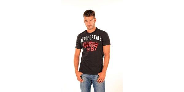 Pánske čierne tričko s potlačou Aéropostale