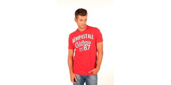 Pánske červené tričko s bielo-modrým nápisom Aéropostale