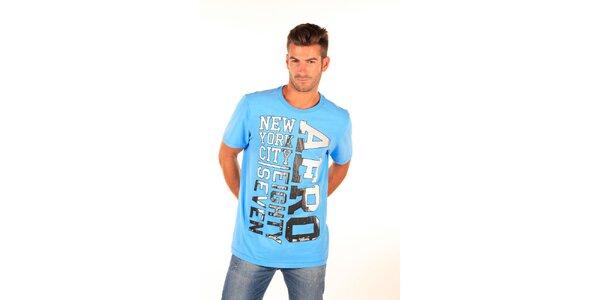 Pánske modré tričko s čierno-bielym nápisom Aéropostale