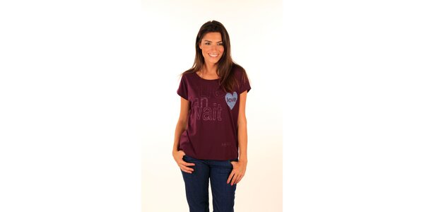 Dámske vínové tričko s nápisom a srdiečkom Aéropostale