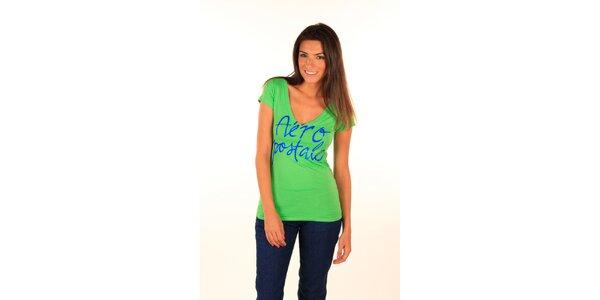 Dámske hráškovo zelené tričko s nápisom Aéropostale