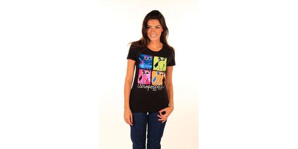 Dámske čierne tričko s warholovskou potlačou Aéropostale