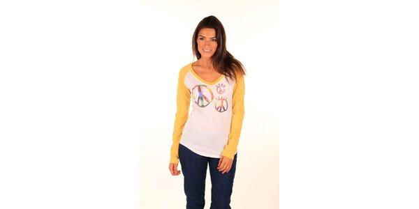 Dámske krémovo-žlté tričko s mierovým symbolom Aéropostale