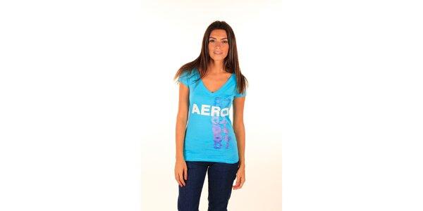 Dámske modré tričko Aéropostale s lesklým nápisom