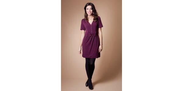 Dámske vínové šaty Poete s mašľou