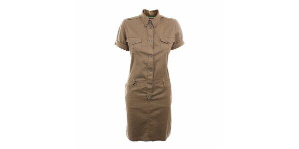 Dámske khaki košeľové šaty Aeronautica Militare
