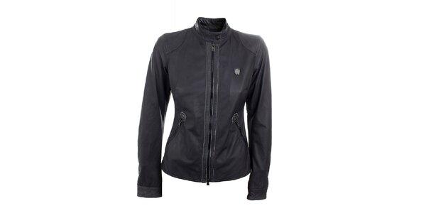 Dámska čierna kožená bunda na zips Aeronautica Militare