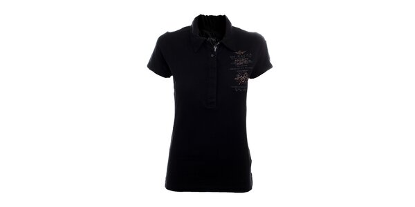 Dámske čierne polo tričko Aeronautica Militare