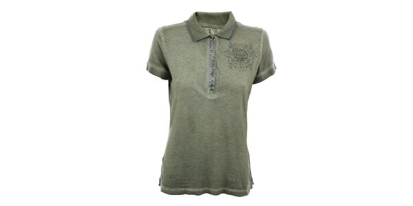 Dámske olivové polo tričko s flitrami Aeronautica Militare