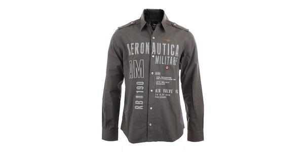 Pánska šedá košeľa s leteckými nášivkami Aeronautica Militare