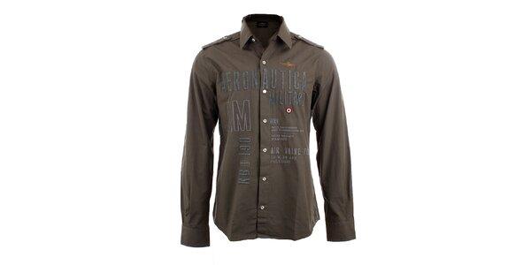 Pánska khaki košeľa s leteckými nášivkami Aeronautica Militare