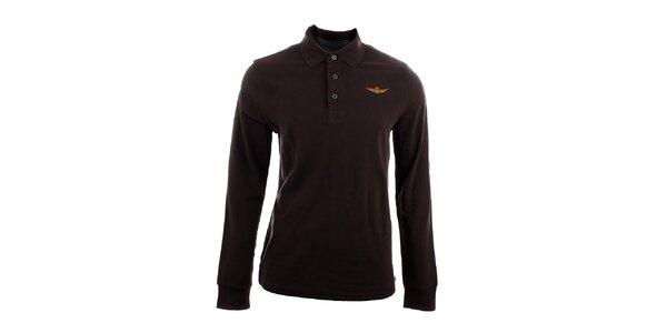 Pánske hnedé polo tričko s dlhým rukávom Aeronautica Militare