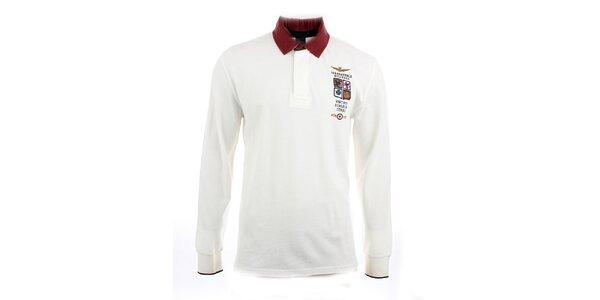 Pánske biele polo tričko s dlhým rukávom Aeronautica Militare