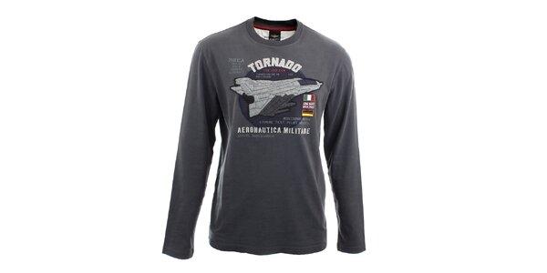 Pánske šedé tričko s dlhými rukávmi Aeronautica Militare